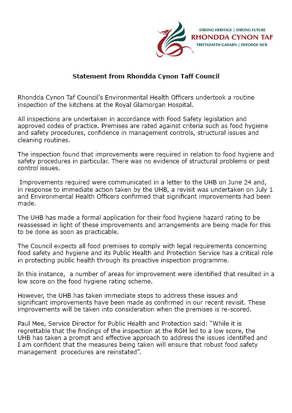 RCT Council Statement food hygiene
